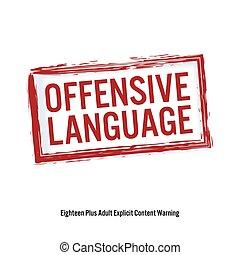 offencive, language., 빨강, 중지, 서명해라., 나이, 제한, stamp., 내용, 치고는, 성인, only., 고립된, 백색 위에서, 배경., 벡터, 삽화