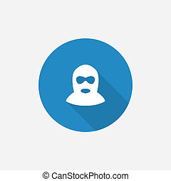 offender Flat Blue Simple Icon with long shadow