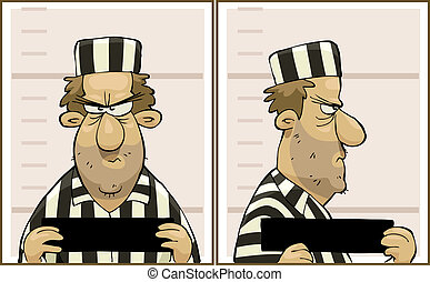 Offender - Photo offender from the front and profile vector