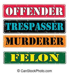 Offender - Set of stamps offender, felon , vector ...
