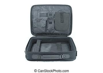 offener laptop-computer, koffer