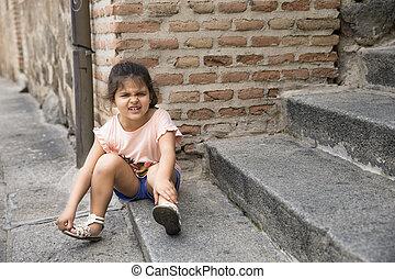 offensé, petite fille, portrait