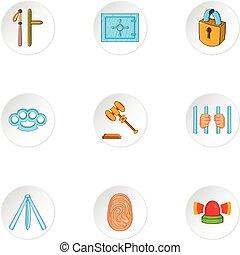 Offense icons set, cartoon style