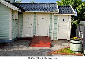 offentligt toilet, hos, handicap, lavatory