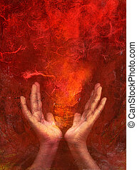 Offer of Fire - Photo based mixed medium images of hands...