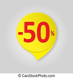 Offer sale yellow label isolated with soft shadow