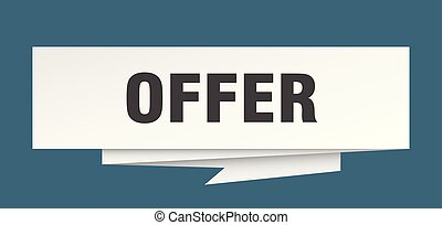 offer sign. offer paper origami speech bubble. offer tag....