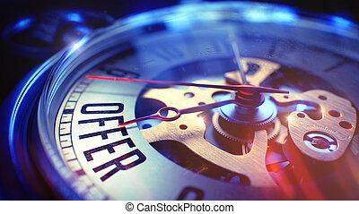 Offer - Text on Vintage Pocket Clock. 3D Render.