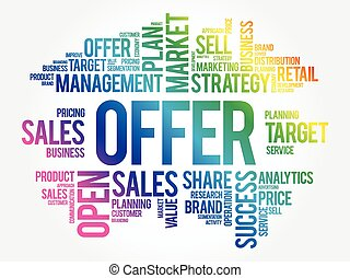 Offer word cloud collage, business concept background