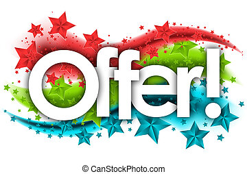 offer word in stars colored background
