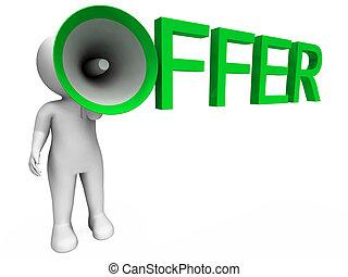 offergave, aanbod, karakter, verkoop, aanbiedingen, optredens