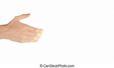 Offering handshake - Caucasian man offers hand for handshake...