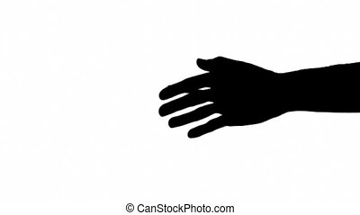 Caucasian man offers hand for handshake over white background