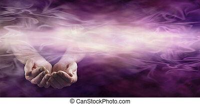 Offering healing energy banner