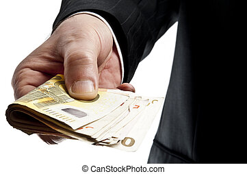 Offering money - Business man offering bunch of euro...