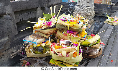 Offerings to gods in Bali, Indonesia