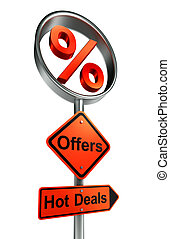 offers road sign with discount symbol