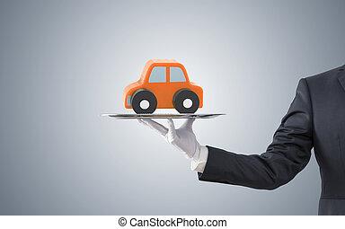 offerta, automobile, arancia, uomo affari, vassoio, argento