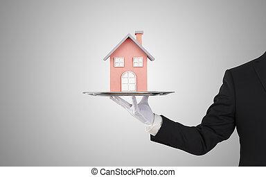 offerta, casa, uomo affari, modello, vassoio, argento