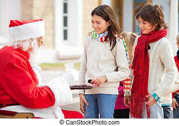 offerta, claus, latte, santa, biscotti, bambini