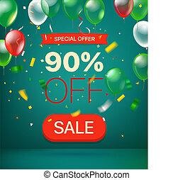 offerta, concept., percento, illustrazione, vettore, 90, speciale, via.
