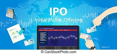 offerta, ditta, iniziale, ipo, stock, mercato pubblico