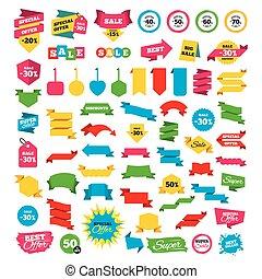 offerta, prezzo, vendita, icons., scontare, speciale, signs.