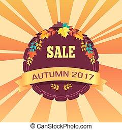 offerta, promo, manifesto, foglie, vendita, autunno, 2017, speciale