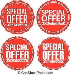 offerta, set, illustrazione, soltanto, vettore, oggi, segni, speciale, rosso