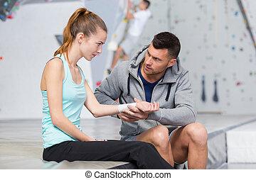 offerta, sport, prontosoccorso, ferito, consiglio, istruttore, arrampicatore