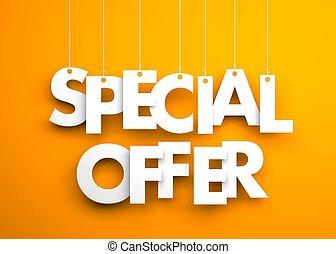 offerta, strings., testo, -, illustrazione, appendere, speciale, 3d
