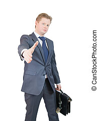 offerta, uomo affari, stretta di mano
