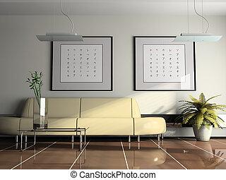 offes, inneneinrichtung, mit, beige, sofa, 3d, übertragung