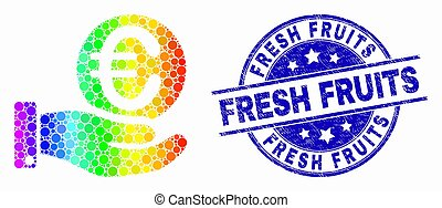 offfer, gratté, fruits, spectre, main, vecteur, pixelated, euro, cachet, frais, monnaie, icône
