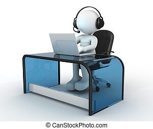 Office - 3d people - man, person with headphone sitting at...