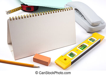 Office accessories and yellow level