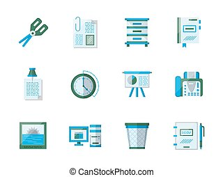 Office accessories flat color vector icons set