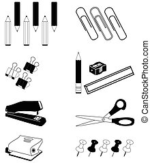 Office accessories icon set