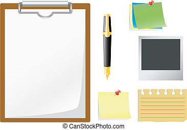 Office accessories. - Set of office accessories. Vector art...