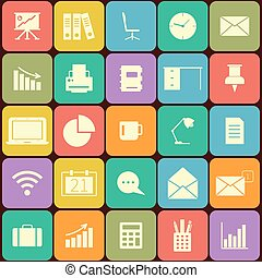 Office and business Flat icons for Web and Mobile Applications. Can be used as elements in infographics, logo