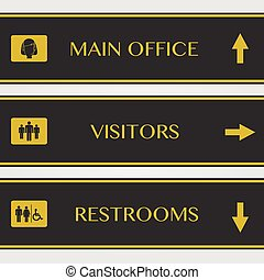Office and Restrooms sign illustration