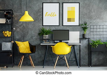 Office area with yellow decor - Office area in contemporary...
