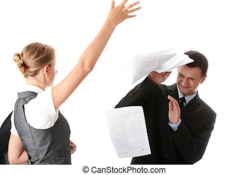 Office argue - Woman throwing papers on man - office argue...
