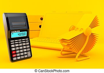 Office background with calculator in orange color. 3d ...