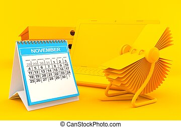 Office background with calendar in orange color. 3d ...