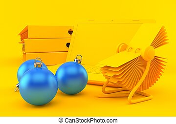 Office background with christmas ornament in orange color. ...