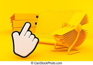 Office background with cursor in orange color. 3d ...