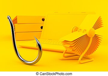Office background with fishing hook in orange color. 3d ...