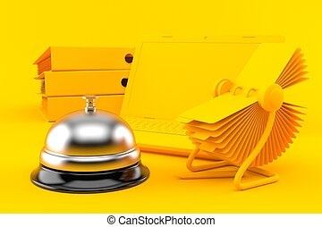 Office background with hotel bell in orange color. 3d ...