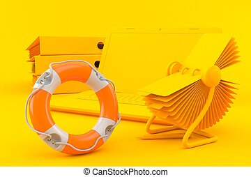 Office background with life buoy in orange color. 3d ...